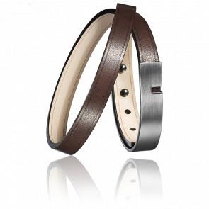 Bracelet U-Turn Twice Chocolat Ingrassato Fermoir Brossé