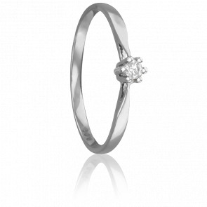 Bague Solitaire Venise Or Blanc & Diamant 0,04ct