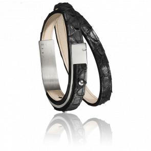 Bracelet U-Turn Révolution Serpent Noir Fermoir Acier