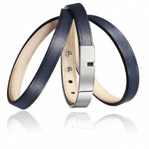 Bracelet U-Turn Triple Marine Fermoir Acier