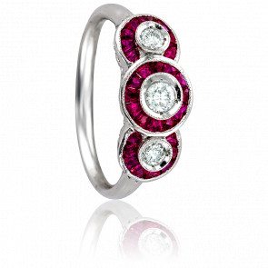 Bague Bérénice Or Blanc 18K, Diamants et Rubis