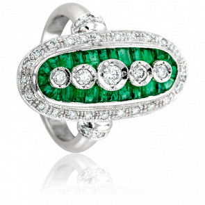 Bague Margaret Or Blanc 18K, Diamants et Emeraudes