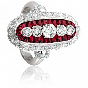 Bague Margaret Or Blanc 18K, Diamants et Rubis