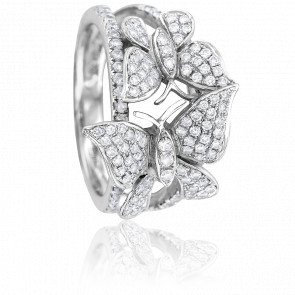 Bague Papillons Or Blanc 18K et Diamants