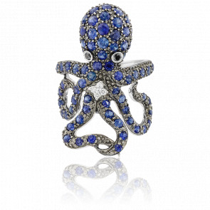 Bague Octopus Or Blanc 18K et Saphirs