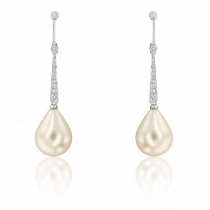Boucles d'oreilles perle,  or blanc 18K et pavage de diamants
