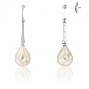 Boucles d'oreilles perle,  or blanc 18K et pavage de diamants