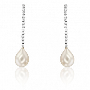 Boucles d'oreilles perles et diamants, or blanc 18K