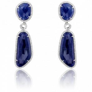 Boucles d'oreilles pendantes or blanc 18K, saphirs & diamants