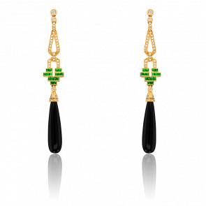 Boucles d'oreilles pendantes, or jaune 18K, diamants, onyx et tsavorites