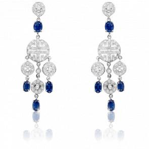 Boucles d'oreilles pendantes, diamants et saphirs en or blanc 18K