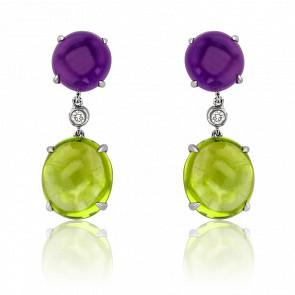 Boucles d'oreilles pendantes, améthyste & opale, or blanc 18K