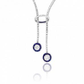 Collier Désirée Or Blanc 18K et Diamants et Saphirs