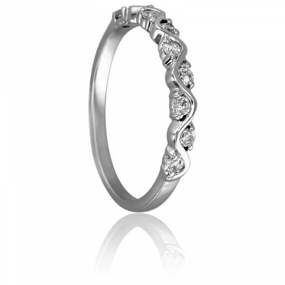 Bague Serpentement Or Blanc 9K & Diamants
