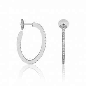Boucles d'Oreilles Créoles Ovales Diamants & Or Blanc 18K