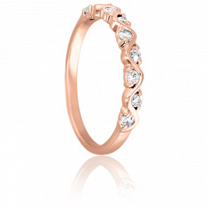 Bague Serpentement Or Rose 9K & Diamants
