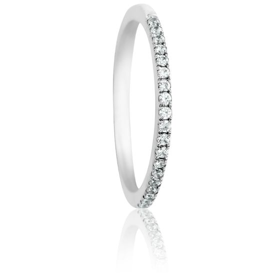 Alliance Atasi Or Blanc 18K & Diamants 0,12ct GSI