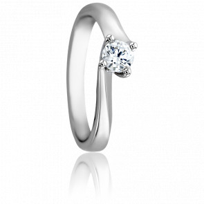 Bague Asymetric Or Blanc 18K & Diamant 0,30ct