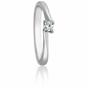 Bague Asymetric Or Blanc 18K & Diamant 0,10ct