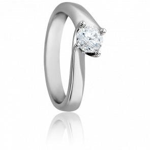 Bague Asymetric Or Blanc 18K & Diamant 0,50ct