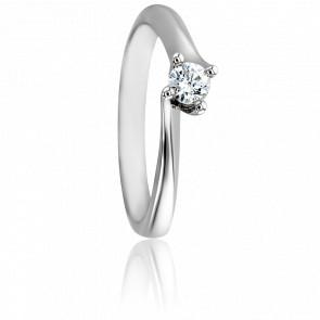 Bague Asymetric Or Blanc 18K & Diamant 0,15ct