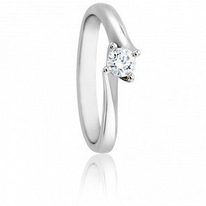 Bague Asymetric Or Blanc 18K & Diamant 0,20ct
