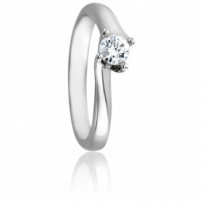 Bague Asymetric Or Blanc 18K & Diamant 0,25ct