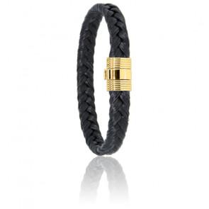 Bracelet Crin de Cheval Noir Or Jaune