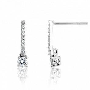 Boucles d'Oreilles Prisca Or Blanc 18K et Diamants 0.27 ct
