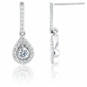 Boucles d'oreilles pendantes, or blanc 18K et diamants