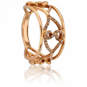 Bague Entrelacs Diamants & Or Rose 18K