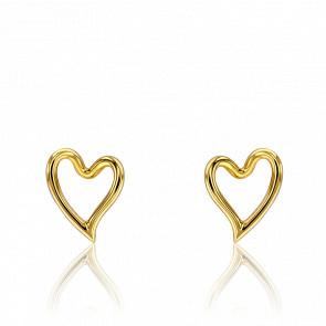 Boucles d'oreilles Entrelacs coeur ajouré, or jaune 18 carats