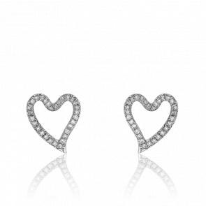 Boucles d'Oreilles Puces Coeurs Diamants & Or Blanc 18K
