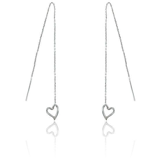Boucles d'oreilles pendantes, coeurs suspendus, or blanc 18K
