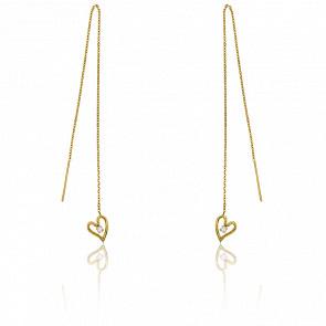 Boucles d'oreilles pendantes coeur, or jaune 18 carats & diamant