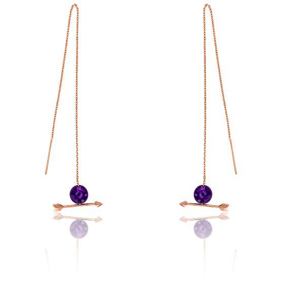 Boucles d'oreilles pendantes flèche, or rose 18K & améthyste