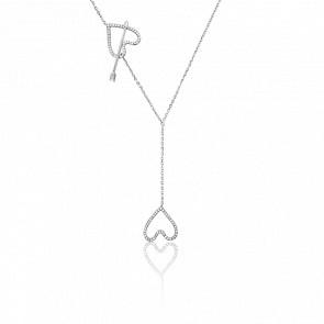 Collier Entrelacs Diamants & Or Blanc 18K