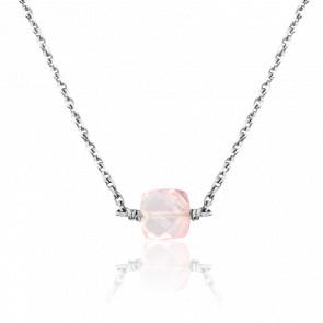 Collier Quartz Rose & Or Blanc 18K