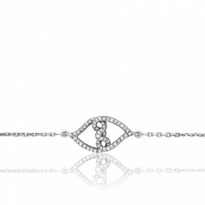 Bracelet Petits Entrelacs Diamants & Or Blanc 18K