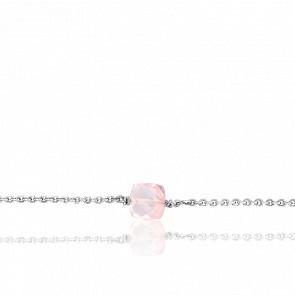 Bracelet Gemme  Quartz Rose & Or Blanc 18K