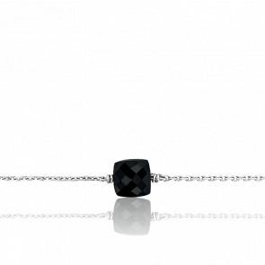 Bracelet Gemme Onyx & Or Blanc 18K