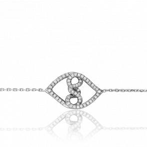 Bracelet Grands Entrelacs Diamants & Or Blanc 18K