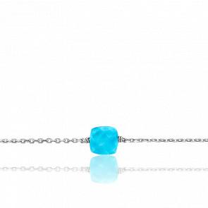 Bracelet Gemme Or Blanc 18K & Howlite 0,90ct
