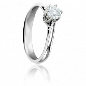 Bague Solitaire Valerien, Diamant GVS & Or Blanc 18K