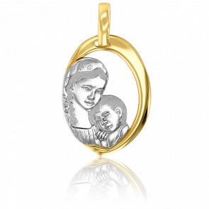 Médaille Vierge à l'Enfant 2 Ors 18K