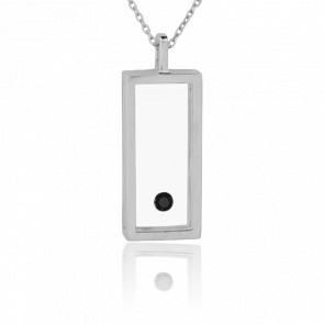 Collier Grand Rectangle Argent et Diamant Noir 0.08 carat