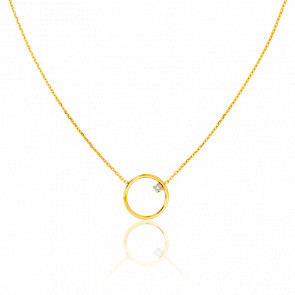 Collier Cercle 13 mm Or Jaune & Diamant