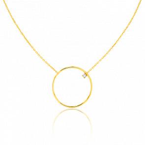 Collier Cercle 23 mm Or Jaune & Diamant