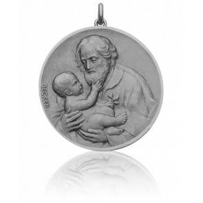 Médaille Saint Joseph Or Blanc 18K