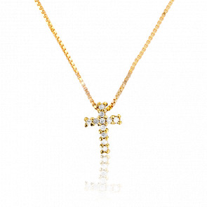 Collier Croix Diamants & Or Jaune 9K